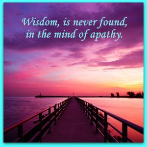 Wisdom, is never found, in the mind of apathy